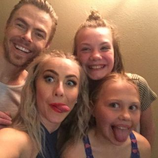"""""""Ok so this might have happened tonight!!! Holy Moly!! ❤❤we got to go back stage and meet these two wonderful people that put on an amazing show thanks so much @juleshough and @derekhough for this it made my whole life. I was so happy thanks so much see you next year !!"""" Courtesy emory.mae ig"""