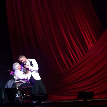 """Such a sweet moment. They just lifted her right onto the stage. Wheelchair and all ❤️ @derekhough #movebeyond"" courtesy tdbazar ig"