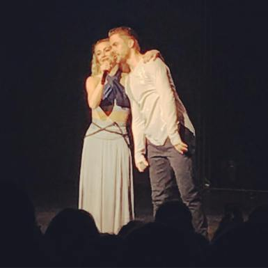 """LOVED the show. It was amazing. I loved the feelings you felt during the dances, I loved the interaction with the audience and all the little ""mishaps"" like Julianne's shoe coming off and all her klutzy exit at the end. Lol. But most of all J loved that they encourage people to feel and love. #derekhough #juliannehough #movebeyond #movebeyondtour @derekhough @juleshough"" courtesy sandyliles ig"
