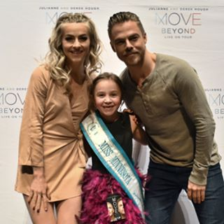 """If I can grow up to be half as kind, talented, giving and just simply amazing as this pair I will be pretty lucky! I had the best night ever last night! Thank you @juleshough @derekhough @moveliveontour for the dancing, scooter ride, playtime with Lexy and Harley and for just being you! Being presented mid-show to the entire audience as Miss Minnesota by Derek was something I'll never forget either! #amazingshow #missminnesotadoesmovebeyond #hanginginthedressingroom #backstagetour #playedwithjuliannesdogs #scooterrides #movebeyond #moveliveontour #ium #iyoum #beheroic #swipeleft #somanymorepicsandvideostocome"" Courtesy chloekayann ig"