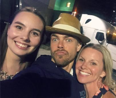 """""""Soooo.. this happened! ♥️ Met @derekhough and @juleshough after the @moveliveontour tonight! What truly amazing people with the kindest #hearts! #Appreciate them so much for taking the time to #meetandgreet AMAZING show! Go. See. It. #ASAP #Thankyou to my beautiful #daughter for the tickets! I love you! ♥️ #dreamscometrue #beautifulpeople #motionequalsemotion #autographs #hugs #happygirl #daymade #derekhough #juliannehough #moveliveontour #danceislove #dance #daymaker #bestdayever #movebeyond @ebomber94"""" Courtesy sarahkeenpost ig"""