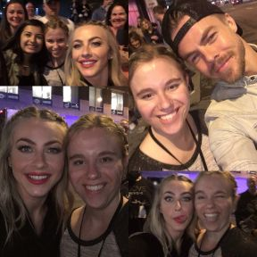 """""""Thank you so much @juleshough @derekhough for taking pics after the show! #MoveBeyond was SO GOOD. I loved every minute. Julianne- thank you for liking/commenting on my pic earlier! I loved meeting you and getting to tell you about this fanpage. I absolutely LOVE having this account and posting pics/videos every day. You are the main reason for this account, and I wanna thank you and Derek for being huge inspirations for so many, including me. Love you guys so much! 😘❤️ Motion = Emotion 😄 #JulianneHough #DerekHough"""" Courtesy juliannehough__ ig"""
