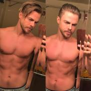 """Hair before & after. My hair can not move when I dance. Needs to be a helmet. Can't stand it when it moves. It's distracting. #moveliveontour #worldofdance - @derekhough"" Courtesy eentertainment ig"