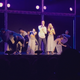 """""Motion equals emotion"" @derekhough @juleshough no words can express how much I loved this show tonight!! I loved that they were both singing and dancing throughout the show too😄Such a blast, they did an incredible job!! #moveliveontour #dwts #amazing"" Courtesy twirlgirl_kels ig"