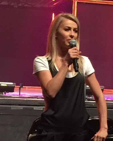 """@juleshough answering questions at the Q&A #movebeyond #moveliveontour #pinkshirtgirl"" Courtesy cldancer ig"