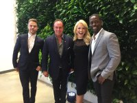 """Derek Hough, Sterling K. Brown, and Hilton Howell in front of the living wall #EPICWMTV"" Courtesy jernichols tw"