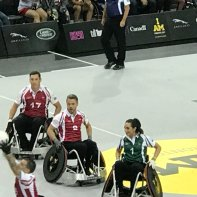 """@derekhough supporting our @InvictusToronto athletes - participating in the celebrity wheelchair #ruby match. #IAM #IG2017"" Courtesy @donly tw"