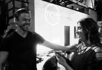 "Showing Derek Hough a video of my son ""flossing"" ...not his teeth, but the latest dance craze #move #dance #derekhough #moveexperience #inspire #positivevibes @derekhough Courtesy lorilarocque ig"